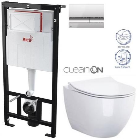 ALCAPLAST  Sádromodul - předstěnový instalační systém s chromovým tlačítkem M1721 + WC CERSANIT ZEN CLEANON + SEDÁTKO (AM101/1120 M1721 HA1)