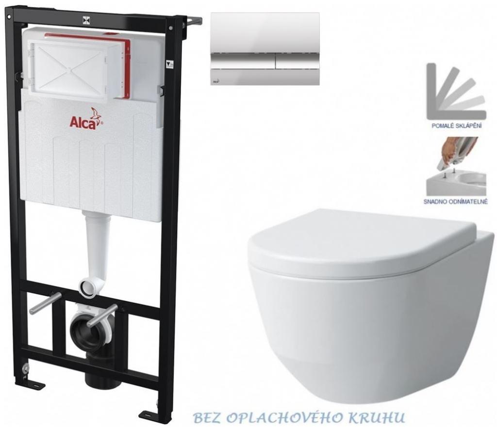 AKCE/SET/ALCAPLAST - Sádromodul - předstěnový instalační systém + tlačítko M1721 + WC LAUFEN PRO RIMLESS + SEDÁTKO (AM101/1120 M1721 LP1)