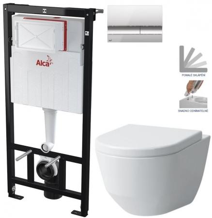 ALCAPLAST  Sádromodul - předstěnový instalační systém s chromovým tlačítkem M1721 + WC LAUFEN PRO + SEDÁTKO (AM101/1120 M1721 LP3)