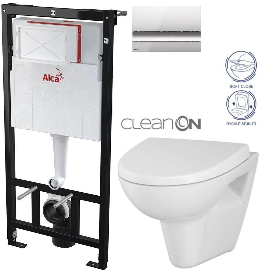 AKCE/SET/ALCAPLAST - Sádromodul - předstěnový instalační systém + tlačítko M1721 + WC CERSANIT CLEANON PARVA + SEDÁTKO (AM101/1120 M1721 PA1)