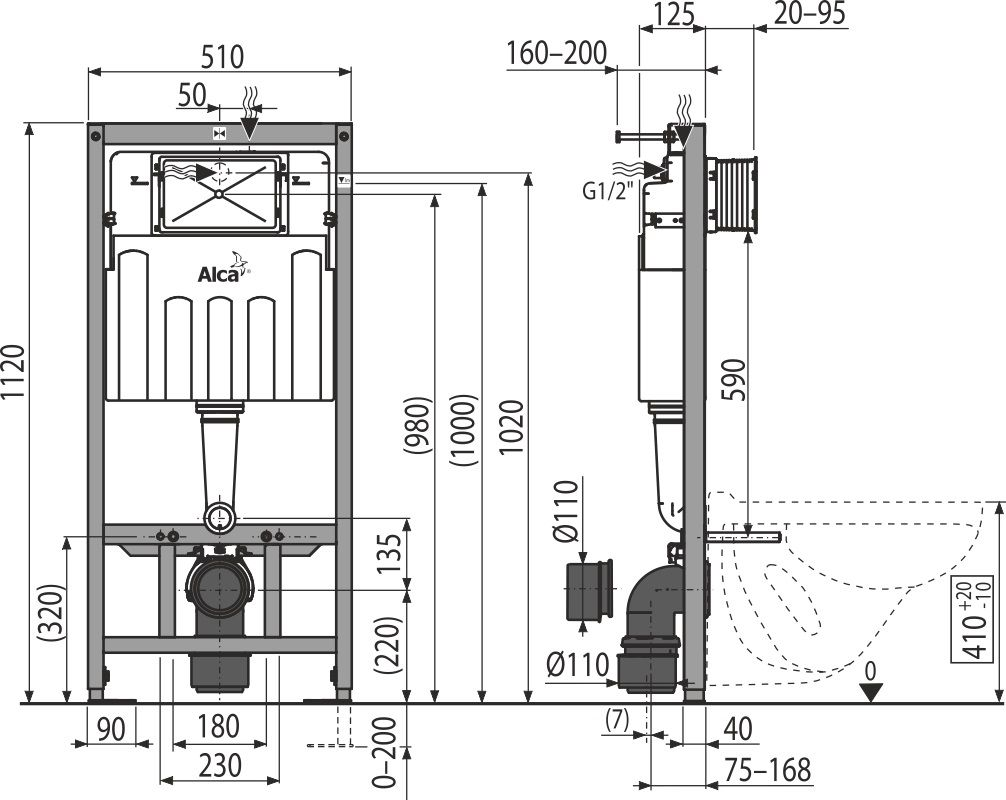 ALCAPLAST  Sádromodul - předstěnový instalační systém s chromovým tlačítkem M1721 + WC CERSANIT CLEANON PARVA + SEDÁTKO (AM101/1120 M1721 PA2)