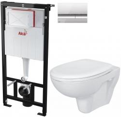AKCE/SET/ALCAPLAST - SET Sádromodul - předstěnový instalační systém + tlačítko M1721 + WC CERSANIT PRESIDENT + SEDÁTKO (AM101/1120 M1721 PR1)