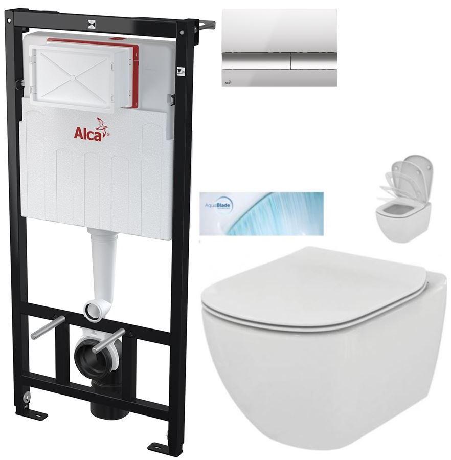 AKCE/SET/ALCAPLAST - Sádromodul - předstěnový instalační systém + tlačítko M1721 + WC TESI se sedátkem SoftClose, AquaBlade (AM101/1120 M1721 TE1)