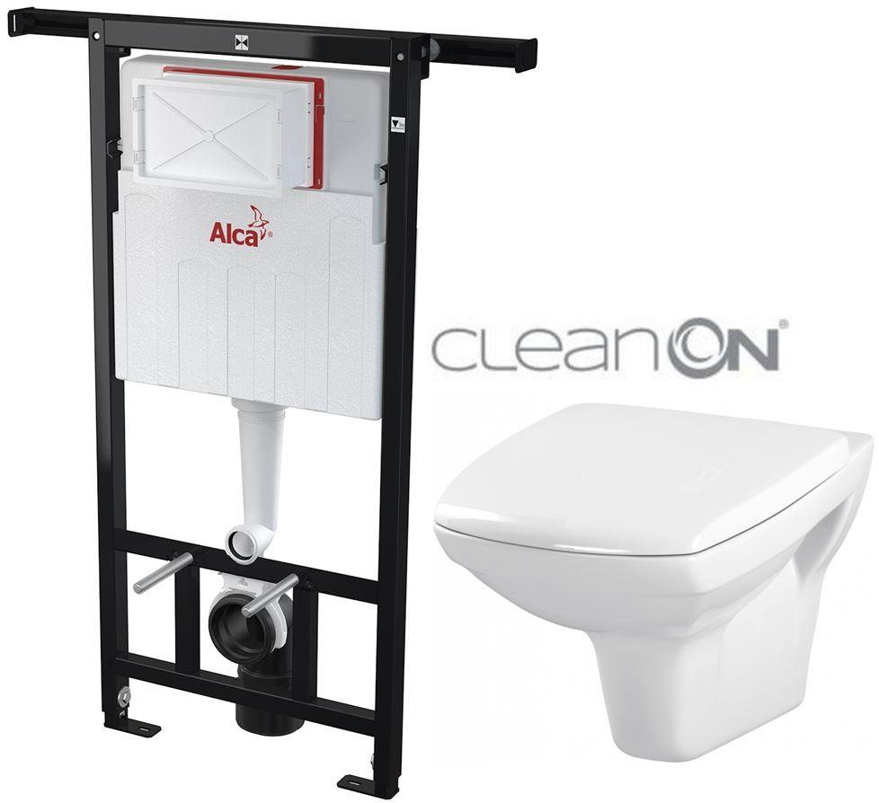 AKCE/SET/ALCAPLAST - Jádromodul - předstěnový instalační systém + WC CERSANIT CLEANON  CARINA (AM102/1120 X CA1)
