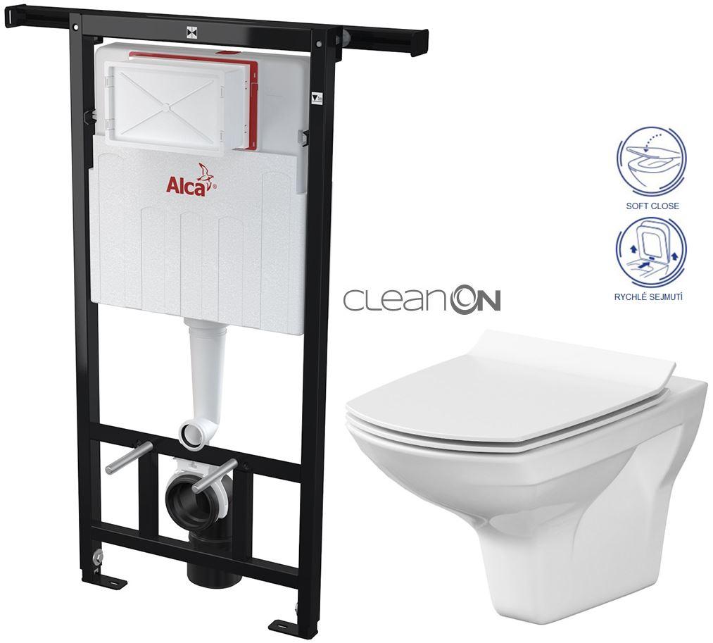 AKCE/SET/ALCAPLAST - Jádromodul - předstěnový instalační systém + WC CERSANIT CLEANON CARINA + SEDÁTKO (AM102/1120 X CA3)