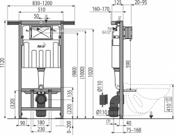 AKCE/SET/ALCAPLAST - SET Jádromodul - předstěnový instalační systém + WC CERSANIT CLEANON COLOUR + SEDÁTKO (AM102/1120 X CN1), fotografie 4/7