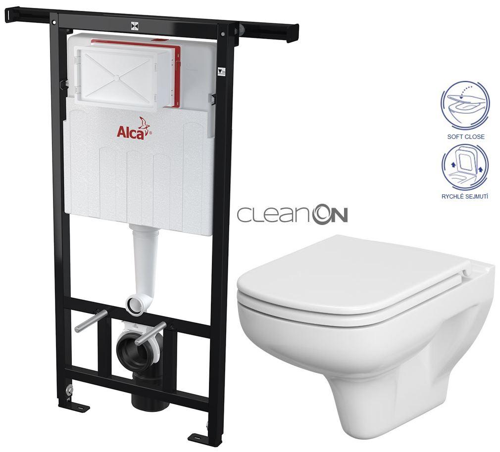 AKCE/SET/ALCAPLAST - Jádromodul - předstěnový instalační systém + WC CERSANIT CLEANON COLOUR + SEDÁTKO (AM102/1120 X CN1)