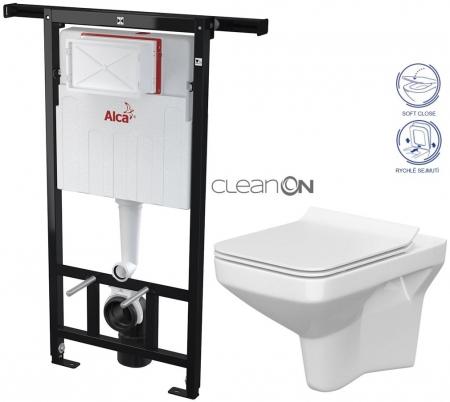 AKCE/SET/ALCAPLAST - SET Jádromodul - předstěnový instalační systém + WC CERSANIT CLEANON COMO + SEDÁTKO (AM102/1120 X CO1)