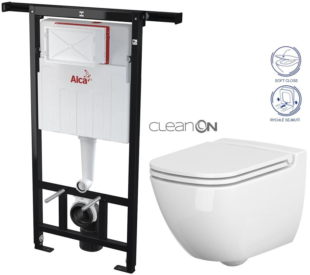 ALCAPLAST Jádromodul předstěnový instalační systém bez tlačítka + WC CERSANIT CLEANON CASPIA + SEDÁTKO AM102/1120 X CP1