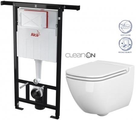 AKCE/SET/ALCAPLAST - SET Jádromodul - předstěnový instalační systém + WC CERSANIT CLEANON CASPIA + SEDÁTKO (AM102/1120 X CP1)