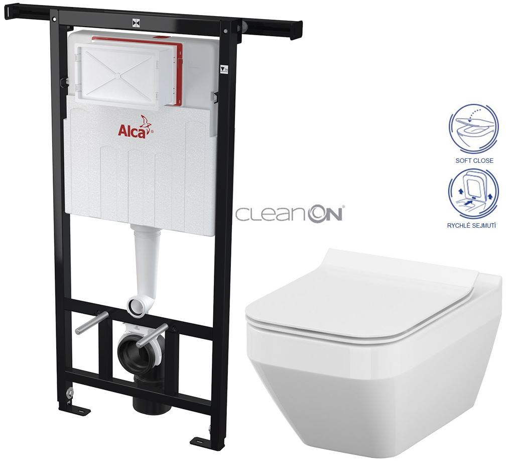 AKCE/SET/ALCAPLAST - Jádromodul - předstěnový instalační systém + WC CERSANIT CLEANON CREA ČTVEREC + SEDÁTKO (AM102/1120 X CR2)