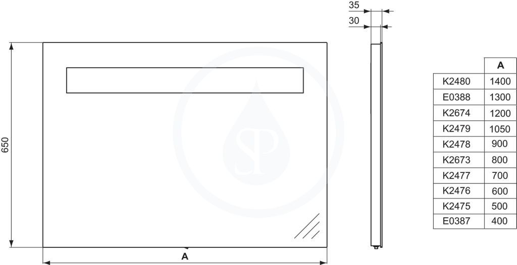 VÝPRODEJ - Strada Zrcadlo s osvětlením 600 mm (26 Watt zářivka T5), neutrální (K2476BHVYP), fotografie 2/8