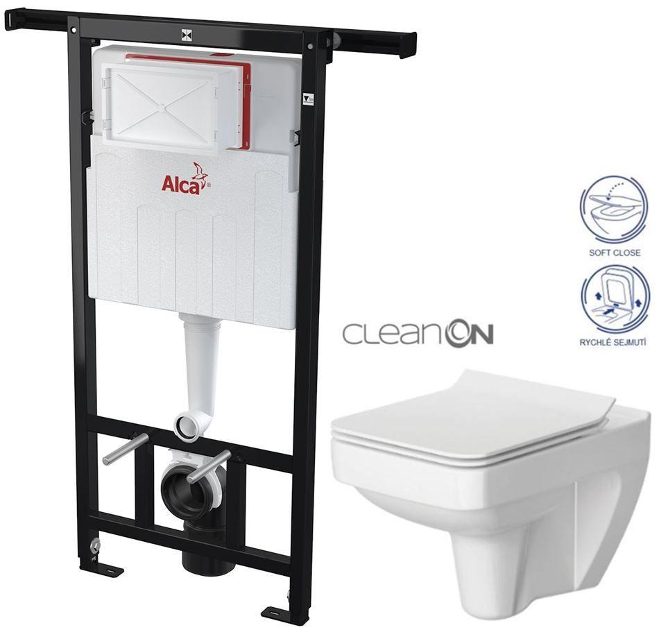 ALCAPLAST Jádromodul předstěnový instalační systém bez tlačítka + WC CERSANIT CLEANON SPLENDOUR + SEDÁTKO AM102/1120 X SP1
