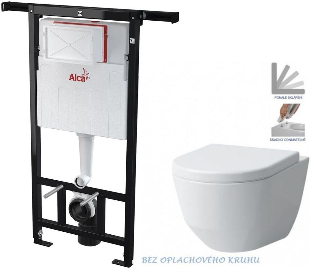 ALCAPLAST Jádromodul předstěnový instalační systém bez tlačítka + WC LAUFEN PRO RIMLESS + SEDÁTKO AM102/1120 X LP1