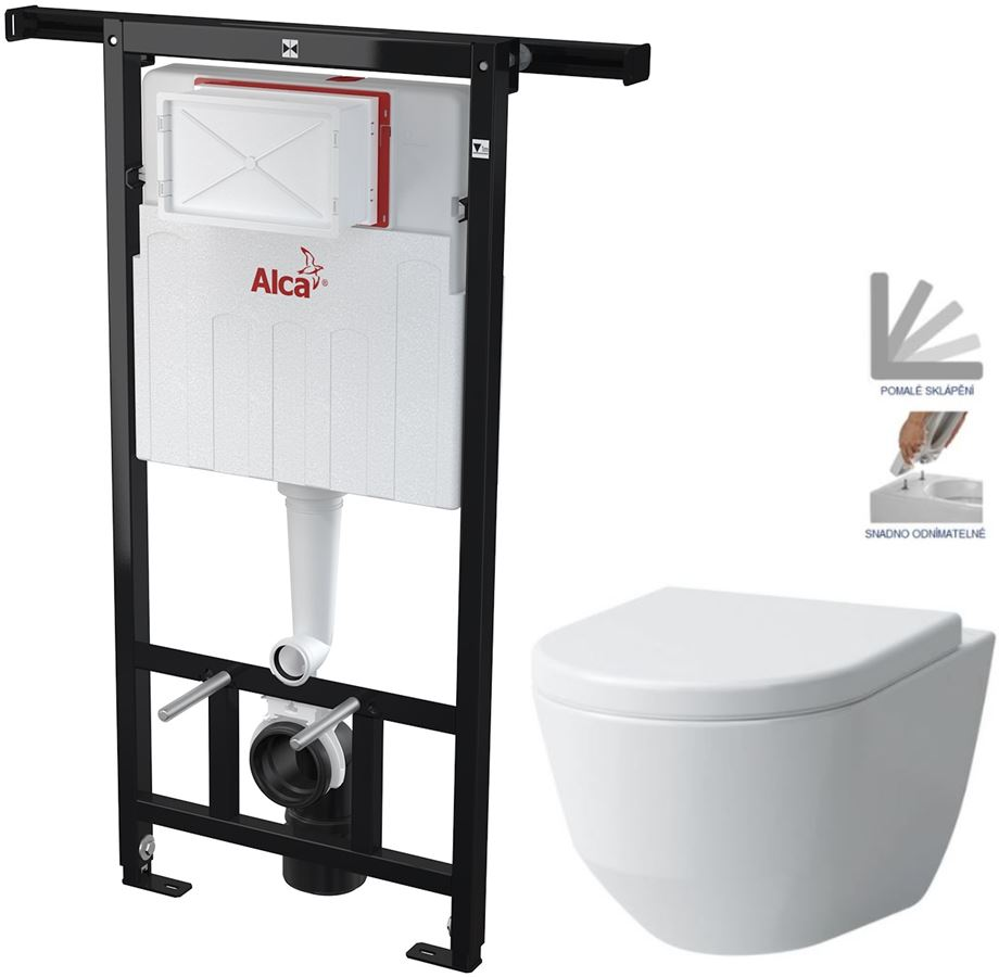 AKCE/SET/ALCAPLAST - Jádromodul - předstěnový instalační systém + WC LAUFEN PRO + SEDÁTKO (AM102/1120 X LP3)