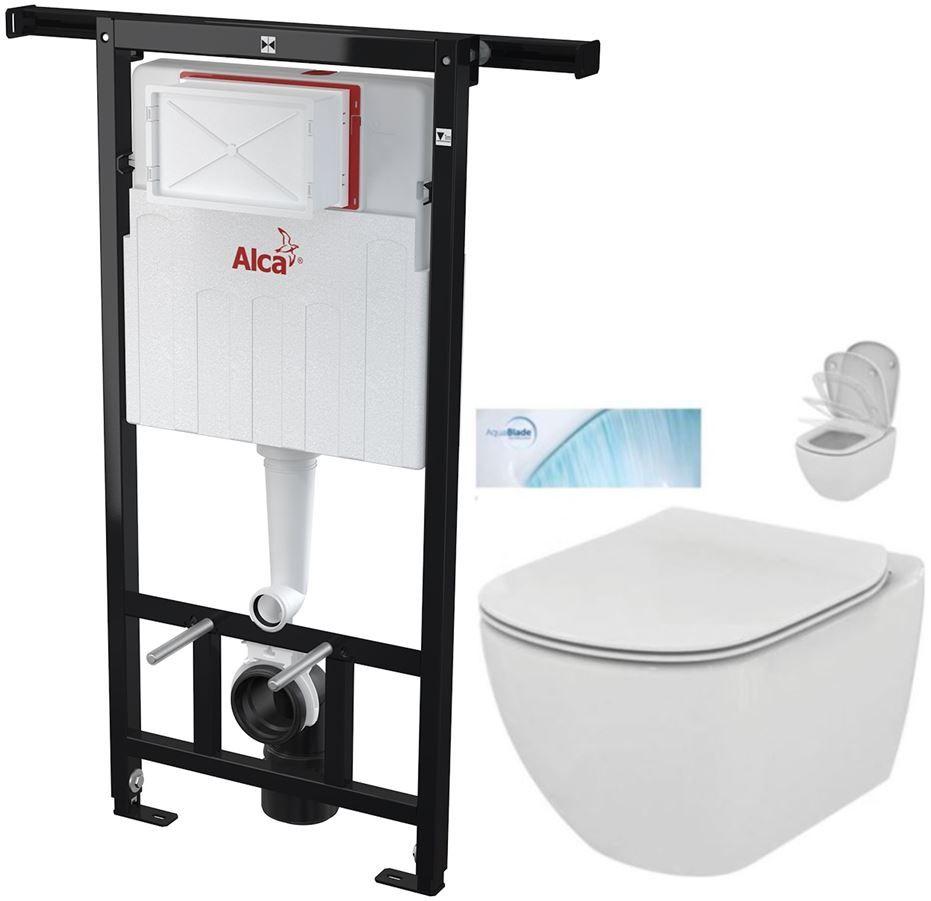 AKCE/SET/ALCAPLAST - SET Jádromodul - předstěnový instalační systém + WC TESI se sedátkem SoftClose, AquaBlade (AM102/1120 X TE1)