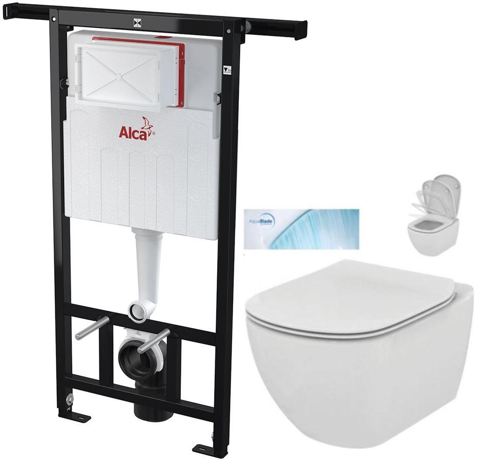 AKCE/SET/ALCAPLAST - Jádromodul - předstěnový instalační systém + WC TESI se sedátkem SoftClose, AquaBlade (AM102/1120 X TE1)