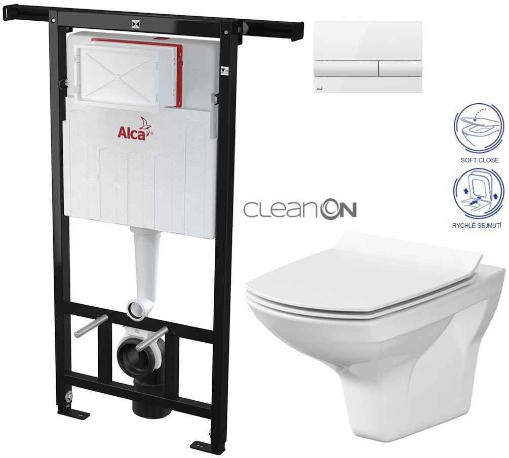 AKCE/SET/ALCAPLAST - Jádromodul - předstěnový instalační systém + tlačítko M1710 + WC CERSANIT CLEANON CARINA + SEDÁTKO (AM102/1120 M1710 CA3)