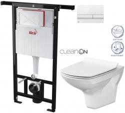 AKCE/SET/ALCAPLAST - SET Jádromodul - předstěnový instalační systém + tlačítko M1710 + WC CERSANIT CLEANON CARINA + SEDÁTKO (AM102/1120 M1710 CA3)