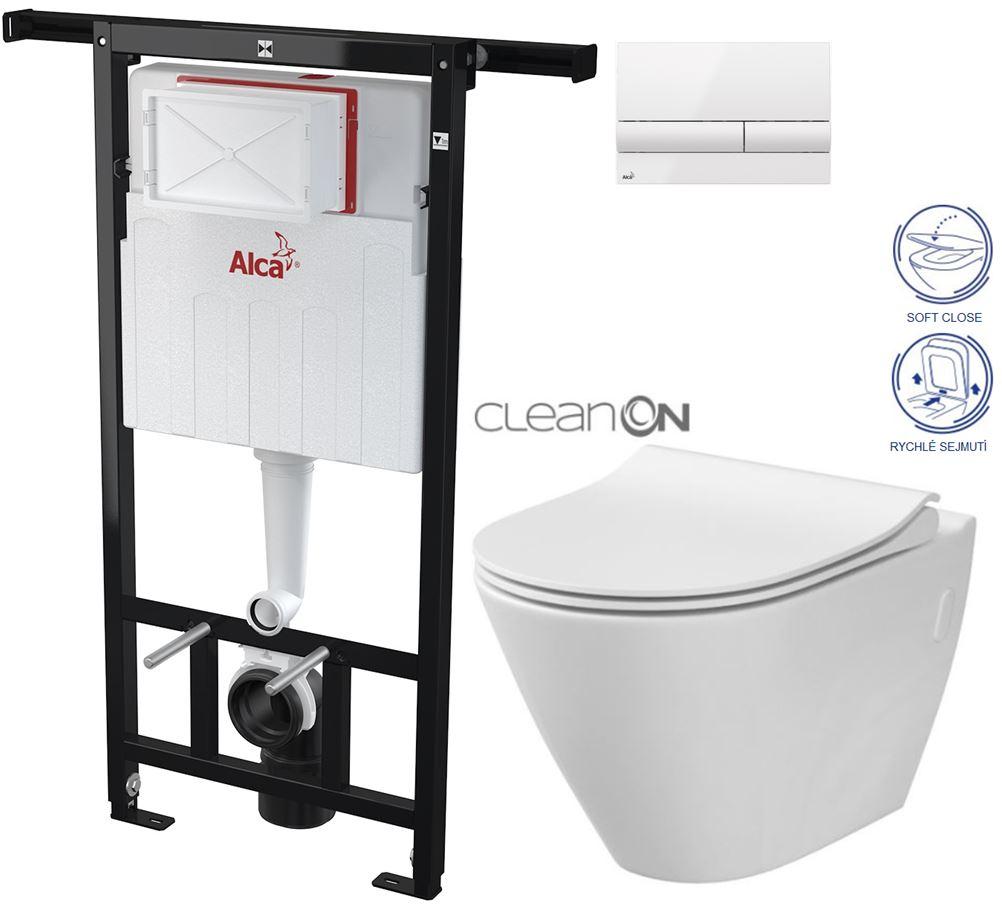 AKCE/SET/ALCAPLAST - Jádromodul - předstěnový instalační systém + tlačítko M1710 + WC CERSANIT CLEANON CITY + SEDÁTKO (AM102/1120 M1710 CI1)
