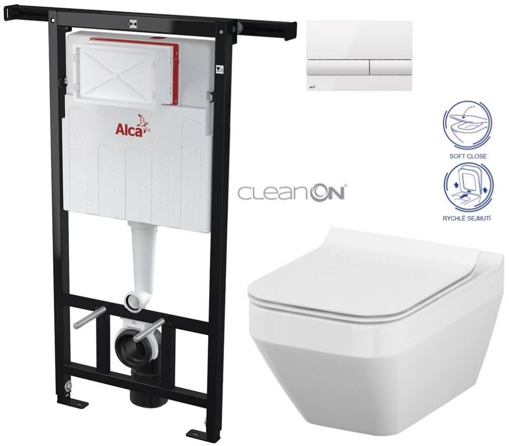 AKCE/SET/ALCAPLAST - Jádromodul - předstěnový instalační systém + tlačítko M1710 + WC CERSANIT CLEANON CREA ČTVEREC + SEDÁTKO (AM102/1120 M1710 CR2)