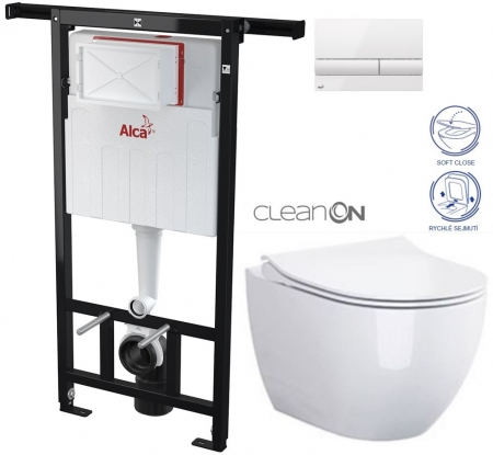 ALCAPLAST  Jádromodul - předstěnový instalační systém s bílým tlačítkem M1710 + WC CERSANIT ZEN CLEANON + SEDÁTKO (AM102/1120 M1710 HA1)