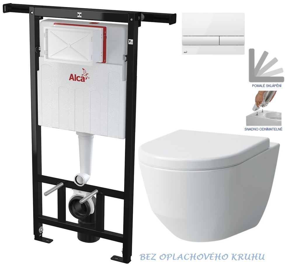 AKCE/SET/ALCAPLAST - Jádromodul - předstěnový instalační systém + tlačítko M1710 + WC LAUFEN PRO RIMLESS + SEDÁTKO (AM102/1120 M1710 LP1)