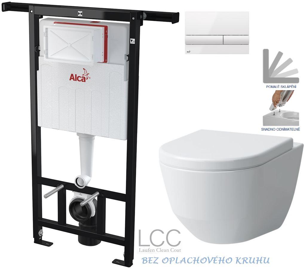 AKCE/SET/ALCAPLAST - Jádromodul - předstěnový instalační systém + tlačítko M1710 + WC LAUFEN PRO LCC RIMLESS + SEDÁTKO (AM102/1120 M1710 LP2)