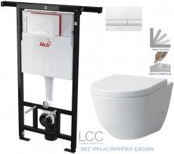 AKCE/SET/ALCAPLAST - SET Jádromodul - předstěnový instalační systém + tlačítko M1710 + WC LAUFEN PRO LCC RIMLESS + SEDÁTKO (AM102/1120 M1710 LP2)
