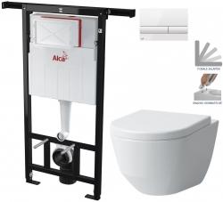 ALCAPLAST  Jádromodul - předstěnový instalační systém s bílým tlačítkem M1710 + WC LAUFEN PRO + SEDÁTKO (AM102/1120 M1710 LP3)