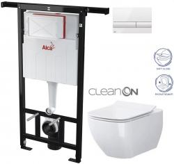 AKCE/SET/ALCAPLAST - Jádromodul - předstěnový instalační systém + tlačítko M1710 + WC OPOCZNO CLEANON METROPOLITAN + SEDÁTKO (AM102/1120 M1710 ME1)
