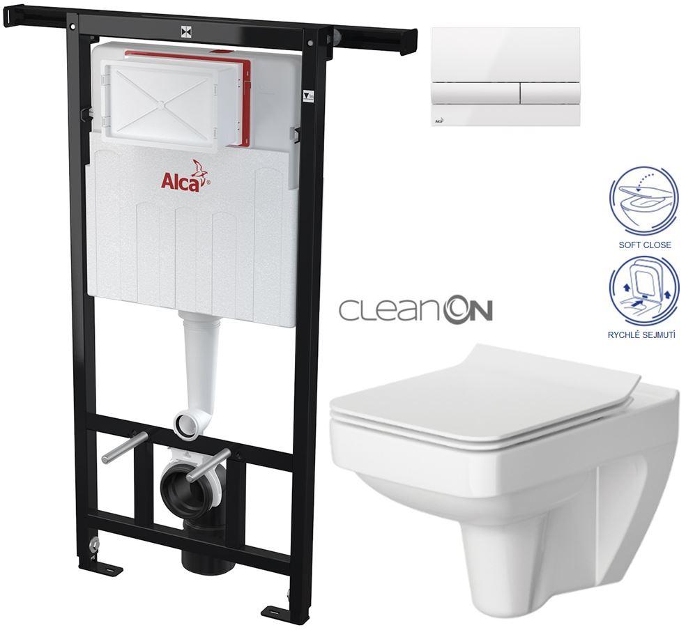 AKCE/SET/ALCAPLAST - Jádromodul - předstěnový instalační systém + tlačítko M1710 + WC CERSANIT CLEANON SPELNDOUR + SEDÁTKO (AM102/1120 M1710 SP1)