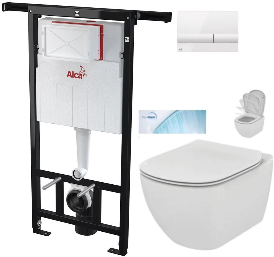 AKCE/SET/ALCAPLAST - SET Jádromodul - předstěnový instalační systém + tlačítko M1710 +WC TESI se sedátkem SoftClose, AquaBlade (AM102/1120 M1710 TE1)