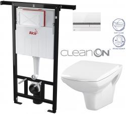 AKCE/SET/ALCAPLAST - SET Jádromodul - předstěnový instalační systém + tlačítko M1720-1 + WC CERSANIT CLEANON CARINA + SEDÁTKO (AM102/1120 M1720-1 CA2)