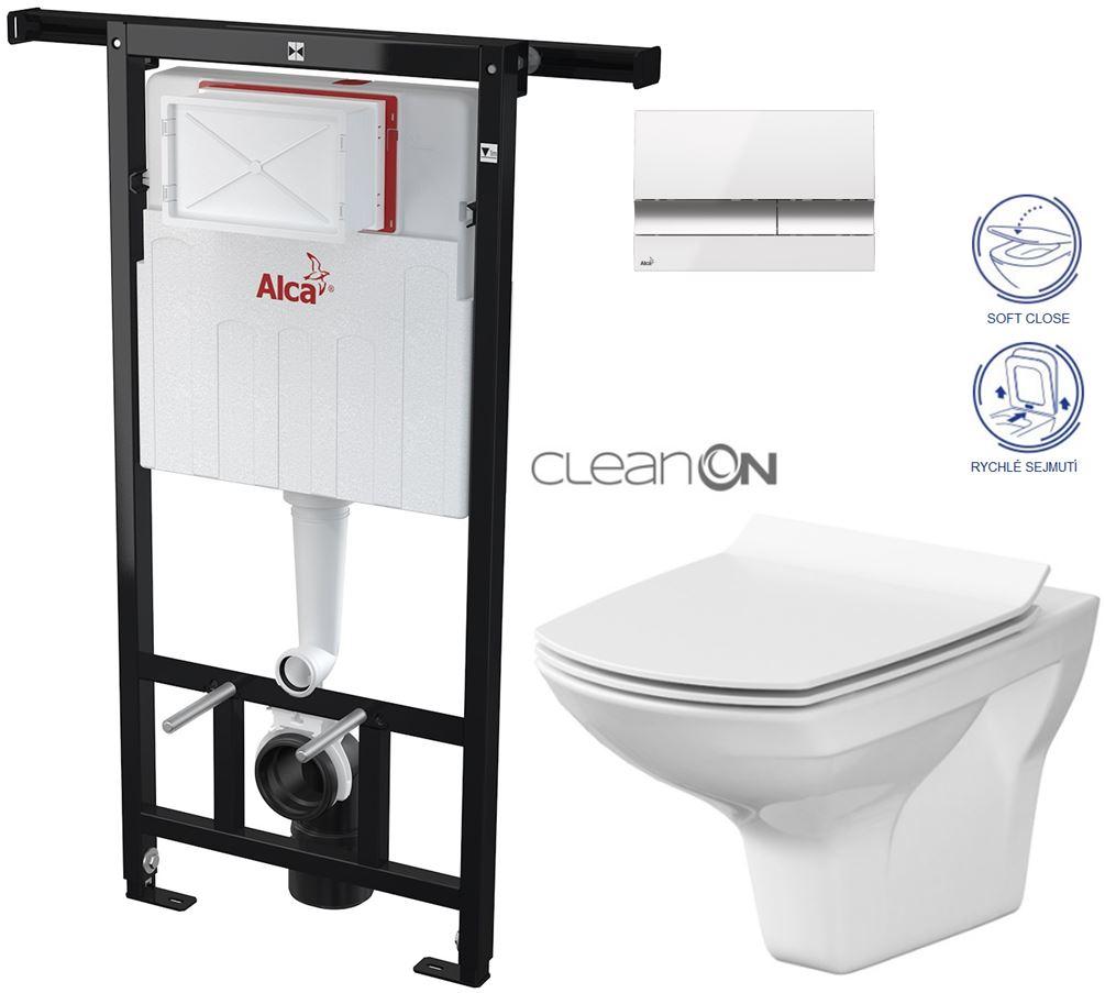 AKCE/SET/ALCAPLAST - Jádromodul - předstěnový instalační systém + tlačítko M1720-1 + WC CERSANIT CLEANON CARINA + SEDÁTKO (AM102/1120 M1720-1 CA3)