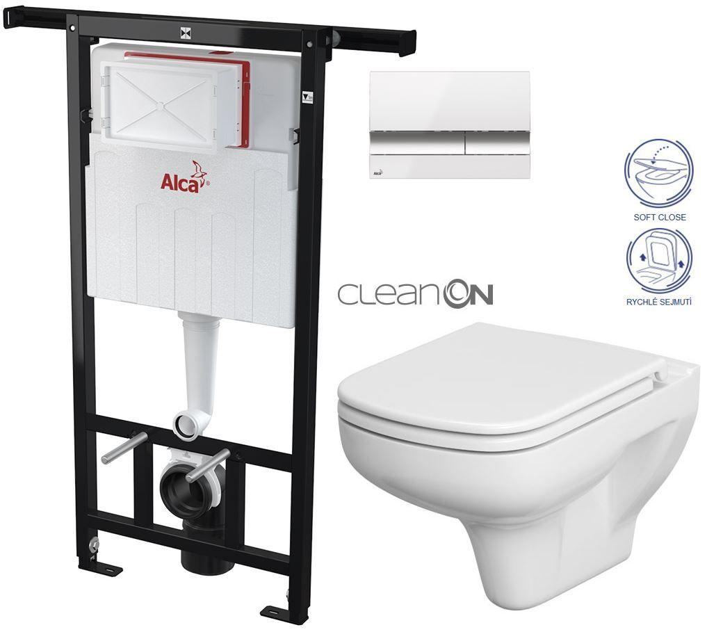 AKCE/SET/ALCAPLAST - SET Jádromodul - předstěnový instalační systém + tlačítko M1720-1 + WC CERSANIT CLEANON COLOUR +SEDÁTKO (AM102/1120 M1720-1 CN1)