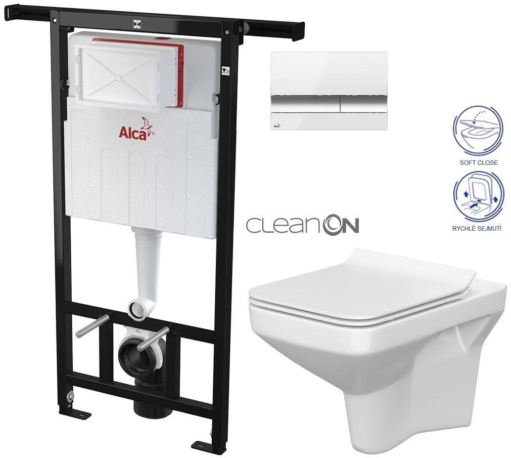 AKCE/SET/ALCAPLAST - SET Jádromodul - předstěnový instalační systém + tlačítko M1720-1 + WC CERSANIT CLEANON COMO + SEDÁTKO (AM102/1120 M1720-1 CO1)