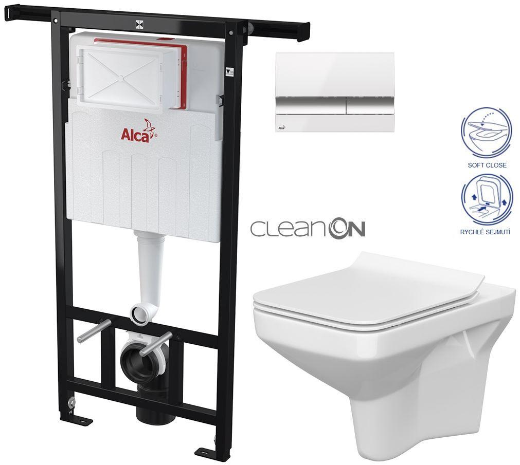AKCE/SET/ALCAPLAST - Jádromodul - předstěnový instalační systém + tlačítko M1720-1 + WC CERSANIT CLEANON COMO + SEDÁTKO (AM102/1120 M1720-1 CO1)