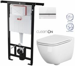 AKCE/SET/ALCAPLAST - Jádromodul - předstěnový instalační systém + tlačítko M1720-1 + WC CERSANIT CLEANON CASPIA + SEDÁTKO (AM102/1120 M1720-1 CP1)