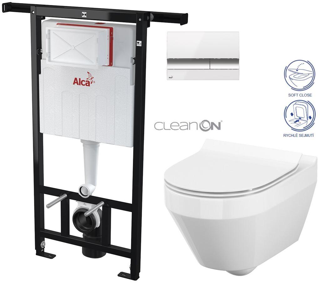 AKCE/SET/ALCAPLAST - Jádromodul - předstěnový instalační systém + tlačítko M1720-1 + WC CERSANIT CLEANON CREA OVÁL + SEDÁTKO (AM102/1120 M1720-1 CR1)