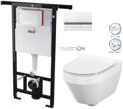 AKCE/SET/ALCAPLAST - SET Jádromodul - předstěnový instalační systém + tlačítko M1720-1 + WC CERSANIT CLEANON CREA OVÁL + SEDÁTKO (AM102/1120 M1720-1 CR1)