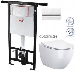 ALCAPLAST  Jádromodul - předstěnový instalační systém s bílým/ chrom tlačítkem M1720-1 + WC CERSANIT ZEN CLEANON + SEDÁTKO (AM102/1120 M1720-1 HA1)