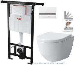 AKCE/SET/ALCAPLAST - SET Jádromodul - předstěnový instalační systém + tlačítko M1720-1 + WC LAUFEN PRO RIMLESS + SEDÁTKO (AM102/1120 M1720-1 LP1)