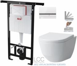 AKCE/SET/ALCAPLAST - SET Jádromodul - předstěnový instalační systém + tlačítko M1720-1 + WC LAUFEN PRO LCC RIMLESS + SEDÁTKO (AM102/1120 M1720-1 LP2)