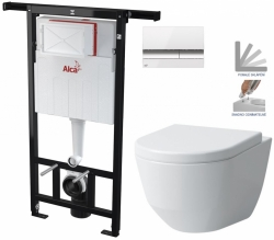 AKCE/SET/ALCAPLAST - SET Jádromodul - předstěnový instalační systém + tlačítko M1720-1 + WC LAUFEN PRO + SEDÁTKO (AM102/1120 M1720-1 LP3)