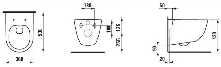 ALCAPLAST  Jádromodul - předstěnový instalační systém s bílým/ chrom tlačítkem M1720-1 + WC LAUFEN PRO + SEDÁTKO (AM102/1120 M1720-1 LP3)