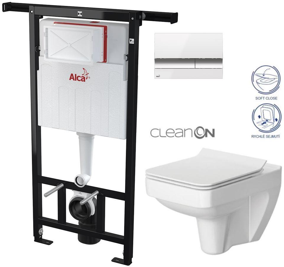 AKCE/SET/ALCAPLAST - Jádromodul - předstěnový instalační systém + tlačítko M1720-1 + WC CERSANIT CLEANON SPELNDOUR + SEDÁTKO (AM102/1120 M1720-1 SP1)