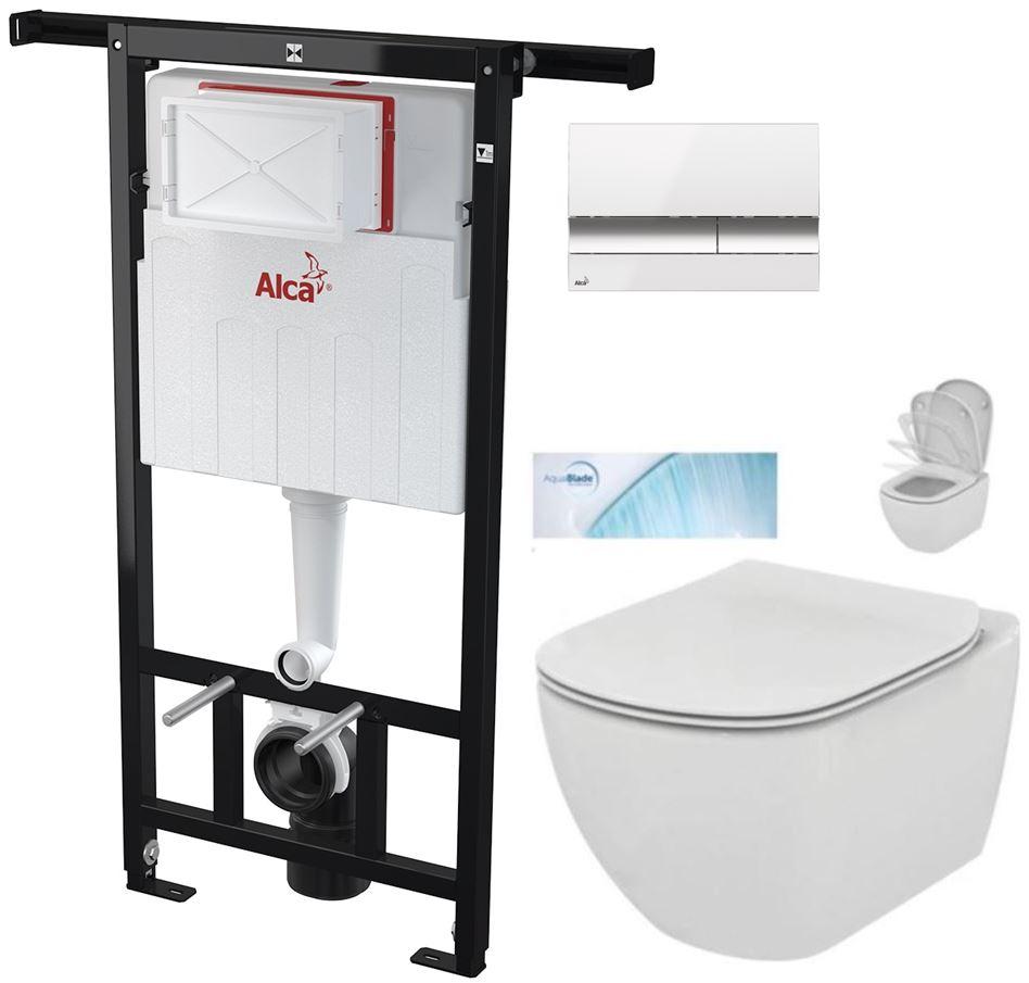 AKCE/SET/ALCAPLAST - Jádromodul - předstěnový instalační systém + tlačítkoM1720-1 + WC TESI se sedátkem SoftClose, AquaBlade (AM102/1120 M1720-1 TE1)