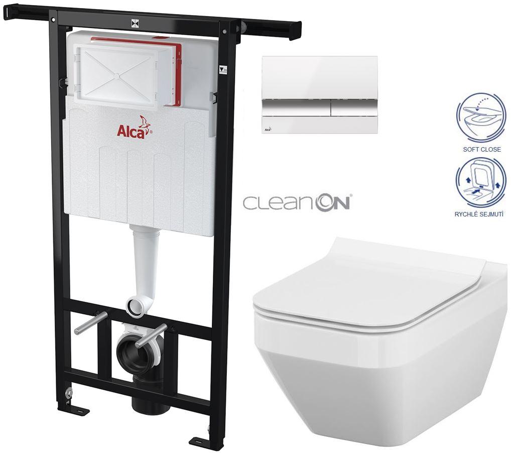 AKCE/SET/ALCAPLAST - Jádromodul - předstěnový instalační systém + tlačítko M1720-1 + WC CERSANIT CLEANON CREA ČTVEREC + SEDÁTKO (AM102/1120 M1720-1 CR2)