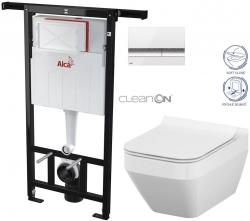 SET Jádromodul - předstěnový instalační systém + tlačítko M1720-1 + WC CERSANIT CLEANON CREA ČTVEREC + SEDÁTKO (AM102/1120 M1720-1 CR2) - AKCE/SET/ALCAPLAST